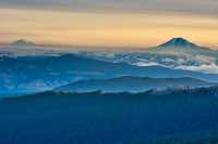 Mt St Helens and Mt Adams in the early morning light.